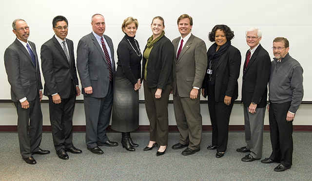 L to R: Dr. Larry Wolinsky, Joe Galvan, Jerry Brown, Dr. Anne Reber, Kristen Harrell, Tim Powers, Drs. Lavern Holyfield, Charles Berry and Jack Long.