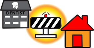 Road Block to Dental Care Graphic - A road block is between a house and a dentist's office, illustrating the various determinants of oral health inequality