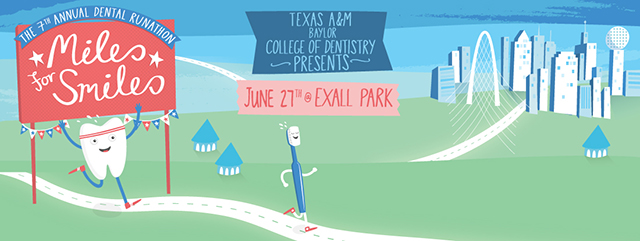 Illustration depicting a toothbrush running to promote the June 27 Miles for Smiles runathon benefitting those in need of oral health care