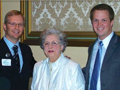Betty Scott, center, with Dr. Todd Baumann and Dr. Jonathan Oudin