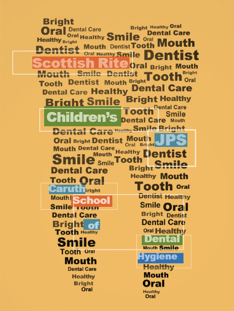 Graphic shaped like a tooth constructed with words associated with the dental hygiene profession