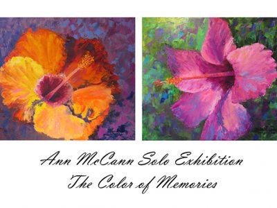 Flower images on an art show postcard