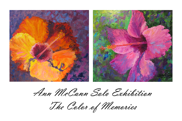 Flower images on an art show postcard