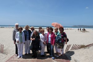 Members of the Caruth Class of 1968 on a beach in California