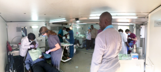 In Kitwe, Zambia, treating patients in a mobile dental unit