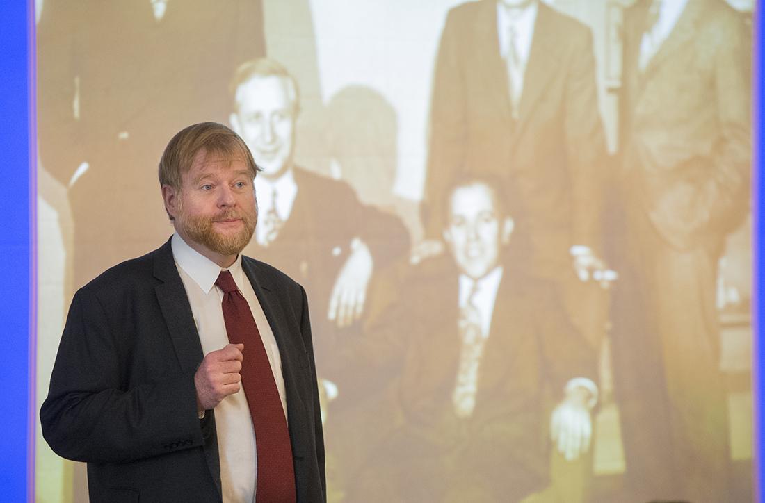 Dr. Thomas Diekwisch speaks during the craniofacial medicine symposium at Texas A&M College of Dentistry