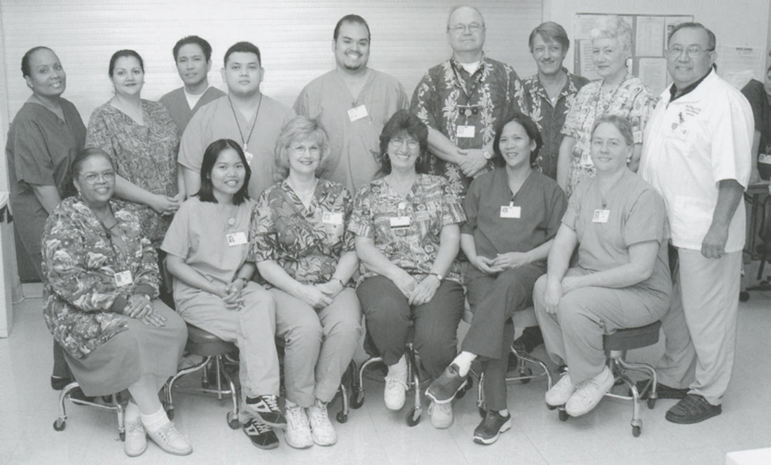 Lillie Coleman, front left, with restorative sciences staff team members